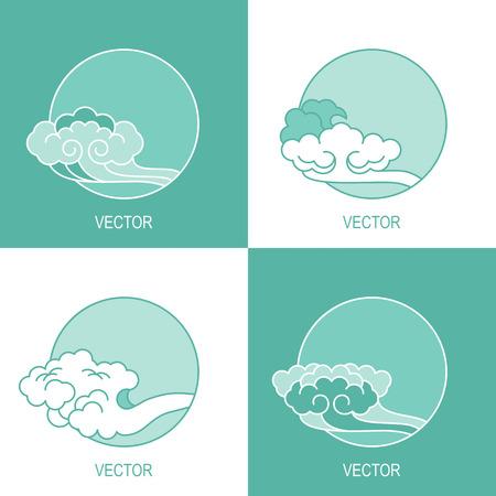 simple sky: vector set of four simple eco cloud sky circle template Illustration