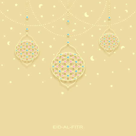 moons: vector eid-al-fitr background with stars moons and decorated lamps