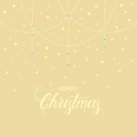 holiday garland: vector holiday background with hand drawn words merry christmas and gentle garland