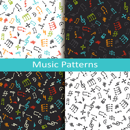 quater: vector set of four music patterns with different musical symbols