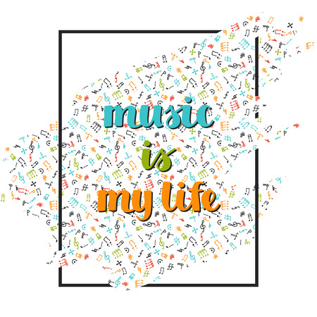 deisgn: vector music background with hand drawn words music is my life and different musical symbols Illustration