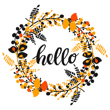 bakground: autumn pretty background with hand drawn plants in a circle and word hello