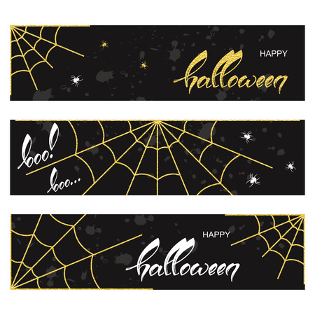 set of three holiday halloween banners with hand drawn words