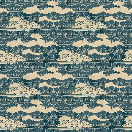 원활한 손으로는 일본의 전통 구름 패턴을 그려