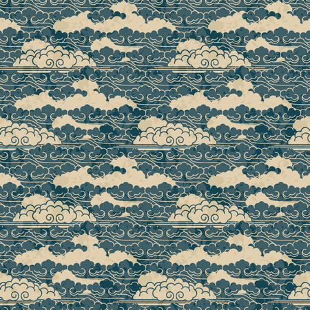 seamless hand drawn traditional japanese cloud pattern Illustration