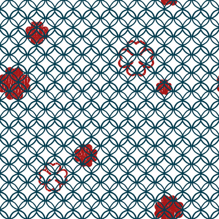 four leaf clovers: seamless geometric blue lineal circle pattern with red four leaf clovers
