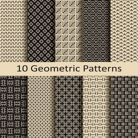 seamless set of ten geometric business brown pattern designs