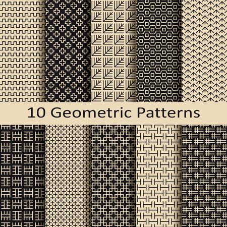 seamless set of ten geometric business brown pattern designs