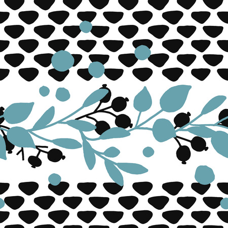 black berry: seamless hand drawn leaf and berry pattern design in black and blue colors