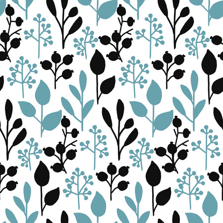graphic pattern: seamless hand drawn leaf and berry pattern design in black and blue colors
