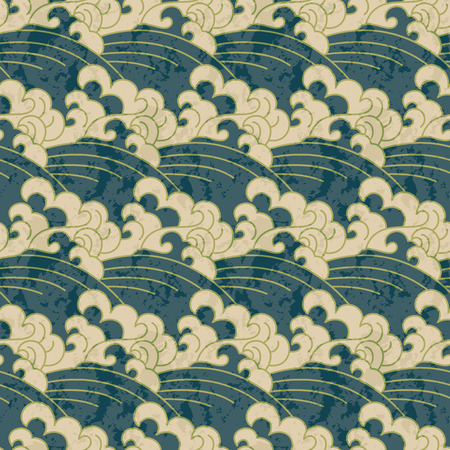 Seamless traditional japanese wave water pattern Stock fotó - 63720730