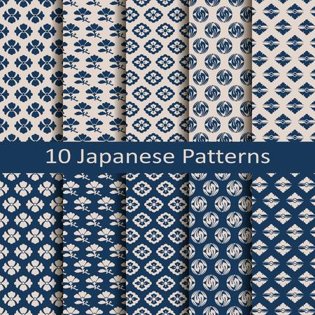 conjunto de patrones tradicionales japoneses de diez vector transparente Ilustración de vector