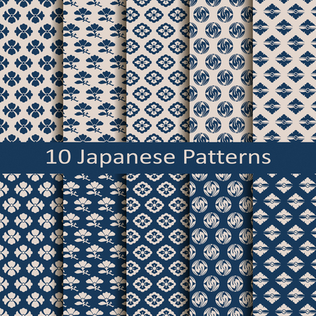 japanese culture: set of ten seamless vector traditional japanese patterns
