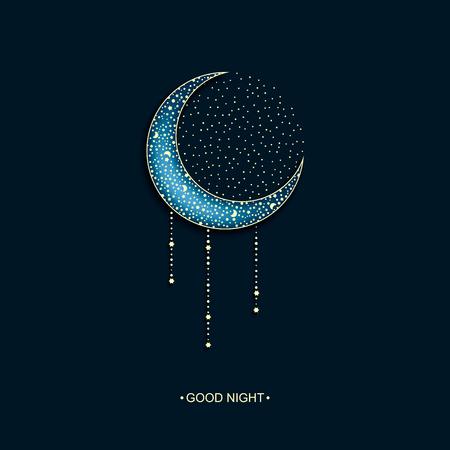 noche y luna: vector de fondo de neón noche oscura con la luna árabe decorado y las estrellas y las palabras buenas noches