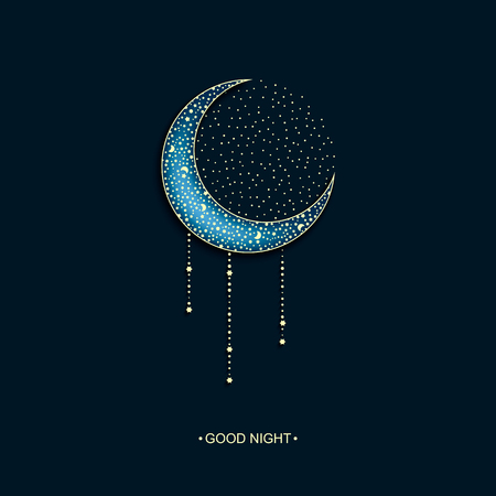 night moon: vector neon dark night background with arabic decorated moon and stars and words good night
