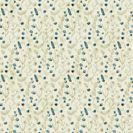 flower fields: seamless vector field flower hand drawn pattern