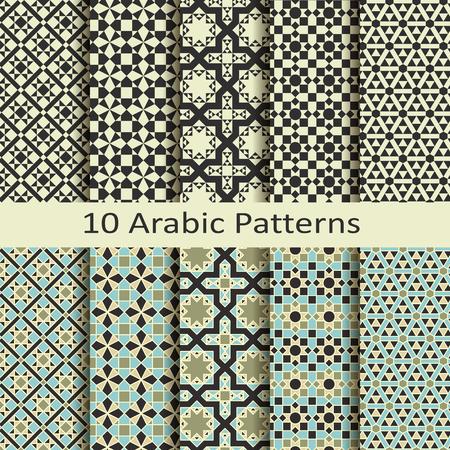 triangle pattern: set of ten seamless vector traditional geometric arabic patterns