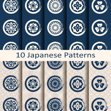 set of ten seamless vector traditional japanese patterns with circle symbols Ilustração