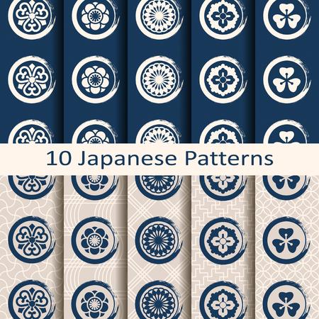 Un conjunto de patrones tradicionales japoneses de diez vector transparente con símbolos de círculo Foto de archivo - 69649587