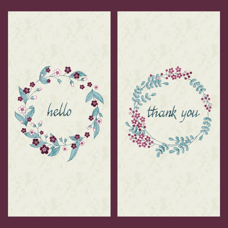 circle flower: set of two cards with greeting and drawn words hello and thank you in a circle flower frame