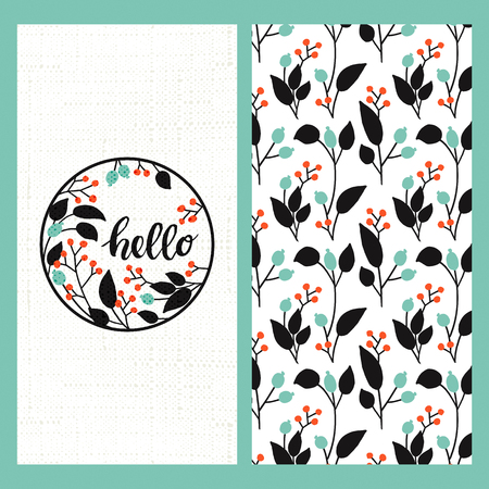 graphic pattern: set with seamless floral hand drawn pattern and a greeting card with hand drawn word hello in a circle floral frame
