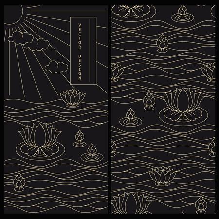 set met Japanse versierd zwart productlabel en dezelfde naadloze vector patroon Stock Illustratie