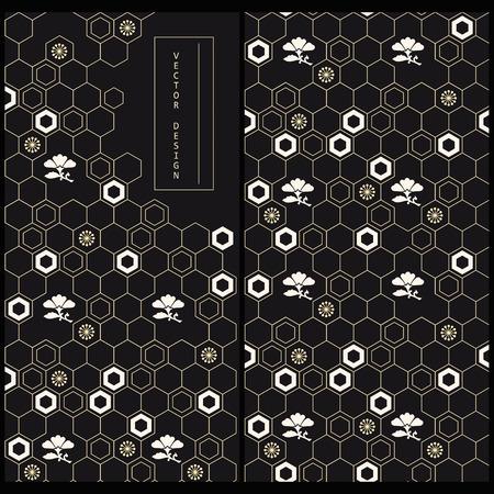 日本の装飾が施された黒の製品ラベルと同じパターンのシームレスなベクトルを設定します。