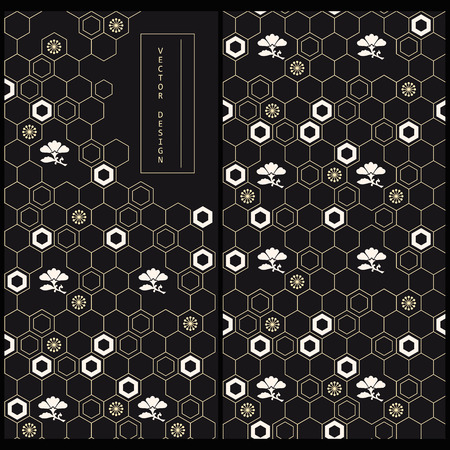 set with japanese decorated black product label and the same seamless vector pattern