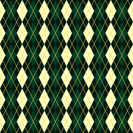 rhomb: Seamless vector green geometric traditional scottish rhomb pattern Illustration