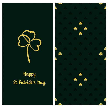 holiday green set with a postcard with hand drawn golden clover and text happy saint Patrick`s day and clover seamless vector pattern