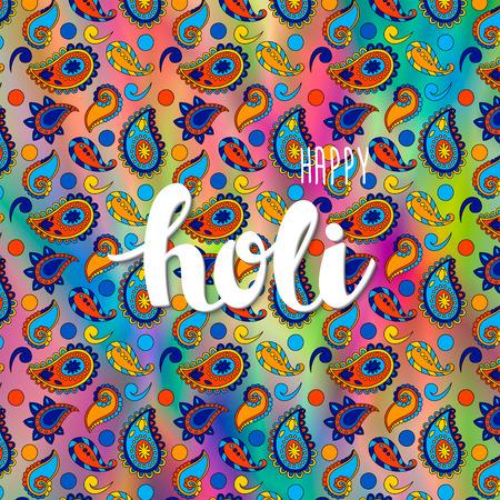 indische muster: Vektor bunte Urlaub Hintergrund mit Hand gezeichneten Worte glücklich Holi und traditionelle indische Muster