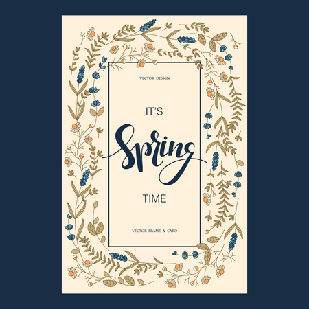 flower layout: vector pretty card design with floral hand drawn field flowers and hand drawn words it`s spring time in a square frame