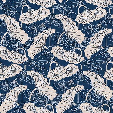 Naadloze vector patern met hand getekende bladeren van lotus