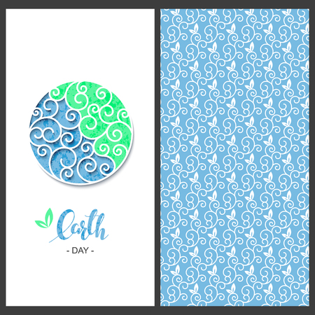 vector holiday set with seamless vector wave lineal pattern and a card with circle frame and hand drawn words earth day Illustration