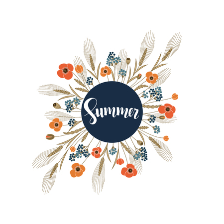 corne: vector with handdrawn word summer in a circle frame with field flowers around