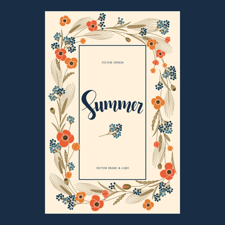 corne: vector retro greeting postcard with colorful field flowers and hand drawn word summer in a square frame