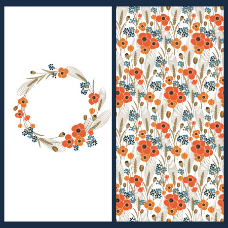 corne: vector set with a card with floral circle frame and seamless vector floral pattern with poppies