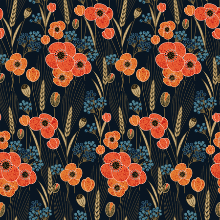 corne: seamless vector colorful pattern with retro poppy and field flowers