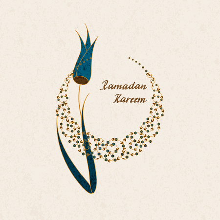 A vector arabic holiday postcard with hand drawn words Ramadan Kareem a flower and a moon symbol