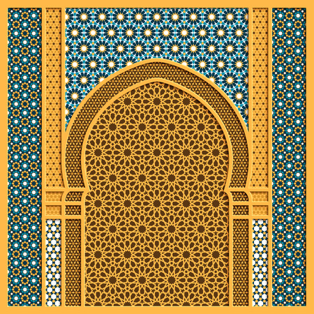 Vector arabic background with traditional window frame and old arabic ornaments