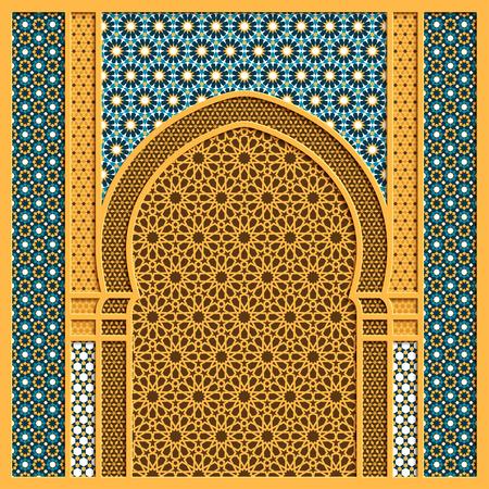 Vector arabische achtergrond met traditionele raam en oude arabische ornamenten
