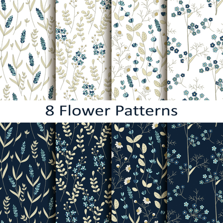 Vector set of eight seamless pattern blue pretty flower pattern vector vector set of eight seamless pattern blue pretty flower pattern mightylinksfo
