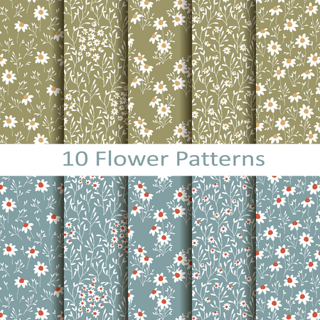 Vector set of eight seamless pattern blue pretty flower pattern 79082122 vector set of ten seamless vector flower patterns with daisies mightylinksfo