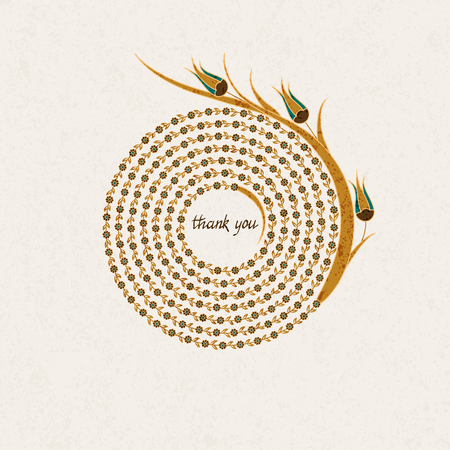 flower  hand: Vector vintage postcard template with spiral flower figure tulips and hand drawn words thank you inside