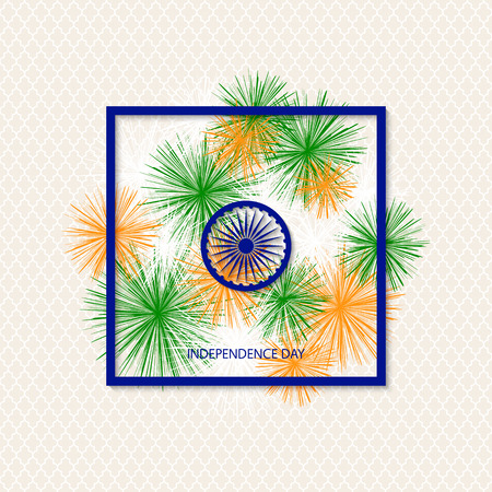 Vector holiday indian independence day background with traditionally colored fireworks and a symbol of a cartwheel