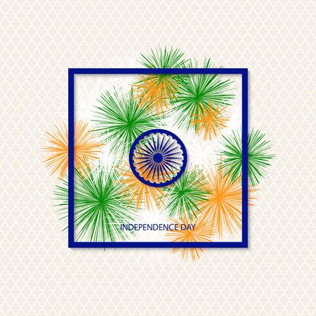 Vectorvakantie Indische onafhankelijkheidsdagachtergrond met traditioneel gekleurd vuurwerk en een symbool van een waterrad Stock Illustratie