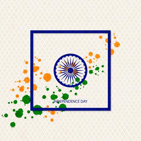 Vectorvakantie Indische onafhankelijkheidsdagachtergrond met traditioneel gekleurde vlekken en een symbool van een waterrad in een kader