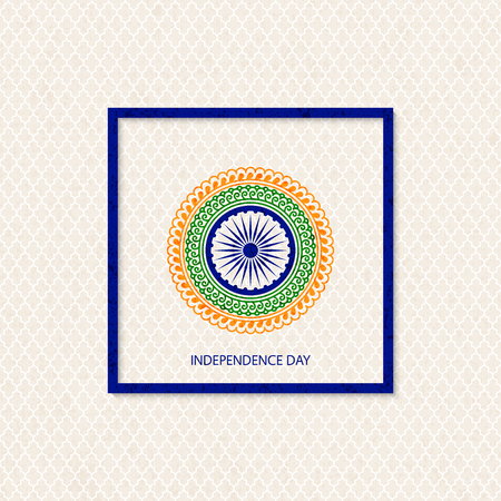 Vector holiday indian independence day background with traditionally colored mandala and a symbol of a cartwheel