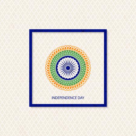 Vectorvakantie Indische onafhankelijkheidsdagachtergrond met traditioneel gekleurde mandala en een symbool van een waterrad