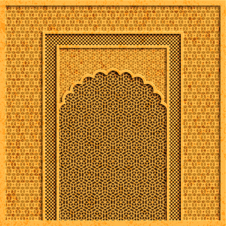 Vector background with traditional indian architecture and geometric golden ornaments Illustration